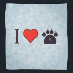 """I Heart Felines Bandana<br><div class=""""desc"""">We&#39;ve all seen the infamous I Love something popular products. Customize your life with this awesome,  one of a kind,  cute themed,   I love Felines product.</div>"""