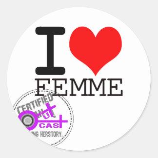 I HEART FEMME CLASSIC ROUND STICKER