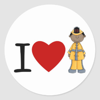 I Heart Firefighters African American Round Stickers