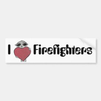 I Heart Firefighters Alien Bumper Sticker