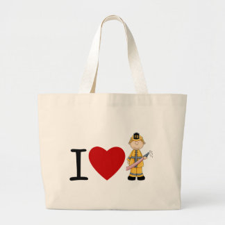 I Heart Firefighters Blonde Large Tote Bag