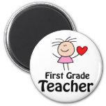 I Heart First Grade Teacher 2 Inch Round Magnet