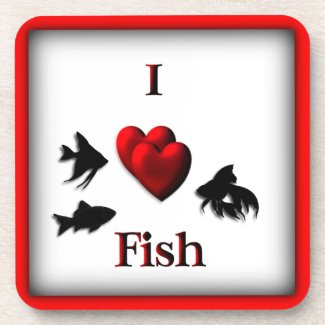 I Heart Fish Square Drink Coaster