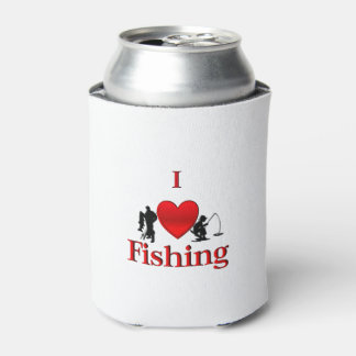 I Heart Fishing Can Cooler