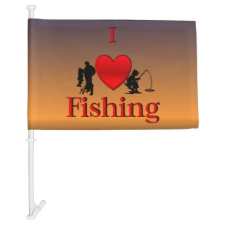 I Heart Fishing Morning Car Flag