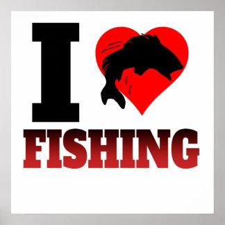 I Heart Fishing Poster