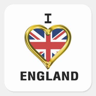 I Heart Flag England Square Stickers