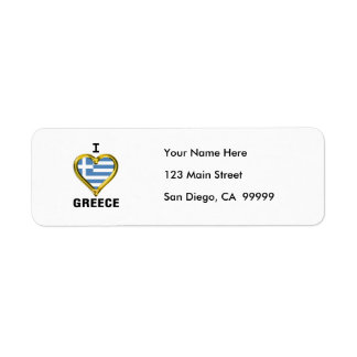 I Heart Flag Greece Label
