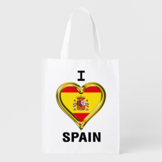 I Heart Flag Spain Reusable Grocery Bag