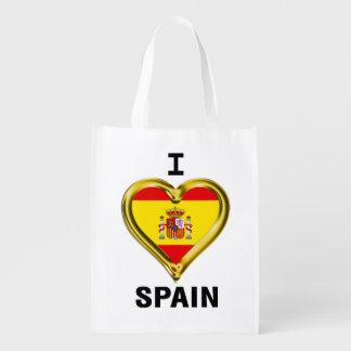 I Heart Flag Spain Grocery Bags