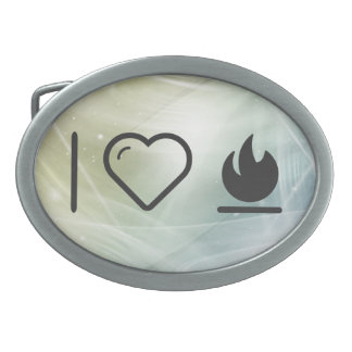 I Heart Flame Burns Oval Belt Buckle