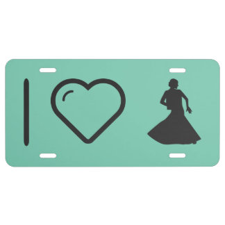 I Heart Flamenco Ladies License Plate
