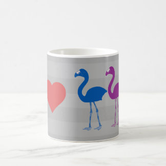 """I Heart Flamingos"" Coffee Mug (Grey/Red)"
