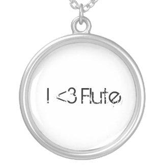 I Heart Flute Round Pendant Necklace