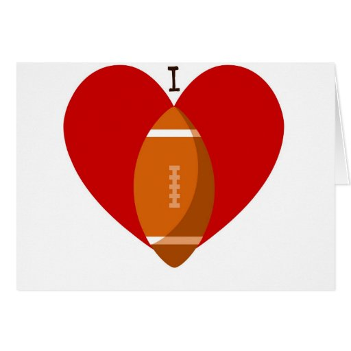 I HEART FOOTBALL PRINT GREETING CARD