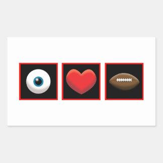 I HEART FOOTBALL RECTANGULAR STICKER
