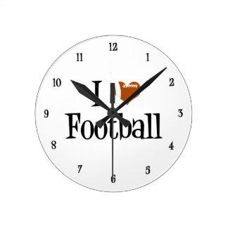 I Heart Football Round Clock
