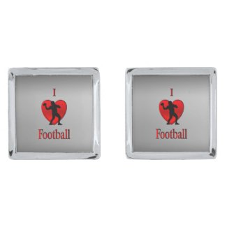 I Heart Football Silver Finish Cufflinks