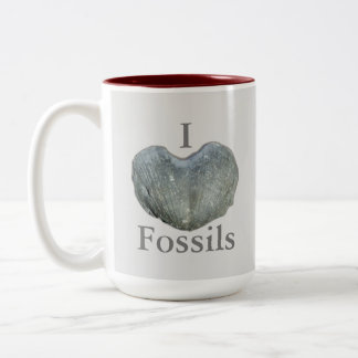 I Heart Fossils Two-Tone Coffee Mug