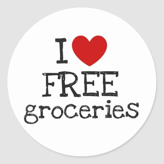 I Heart Free Groceries Classic Round Sticker