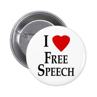 I Heart Free Speech Pinback Buttons