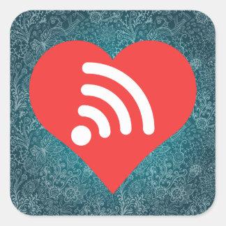 I Heart Free Wifi Icon Square Sticker