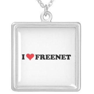 I Heart Freenet 2 Square Pendant Necklace