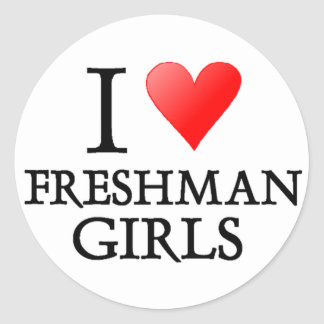 I heart freshman girls classic round sticker