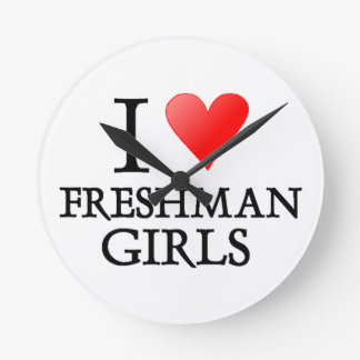 I Heart Freshman Girls Round Clock