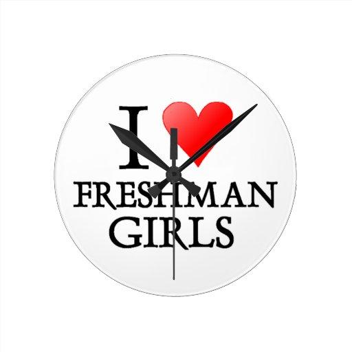 I Heart Freshman Girls Round Wall Clocks