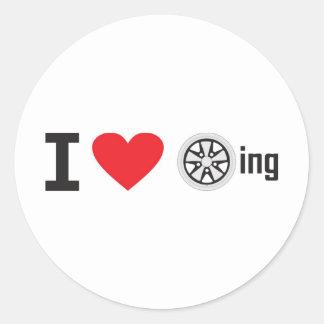 i heart fuch wheeling classic round sticker