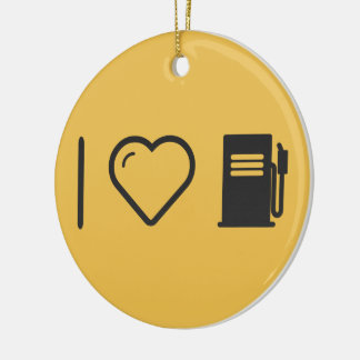 I Heart Gas Stations Double-Sided Ceramic Round Christmas Ornament