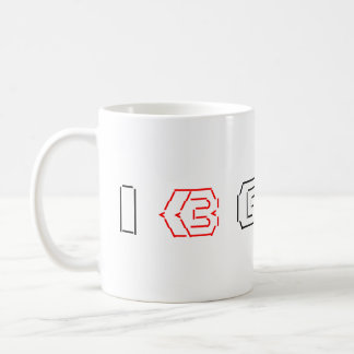 I Heart Geeks ASCII ART Coffee Mug