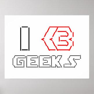 I Heart Geeks ASCII ART Poster