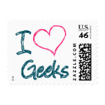 I Heart Geeks Postage Stamp