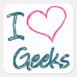 I Heart Geeks Square Sticker