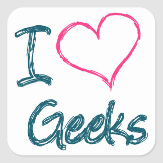 I Heart Geeks Square Sticker