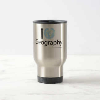 I heart Geography 15 Oz Stainless Steel Travel Mug