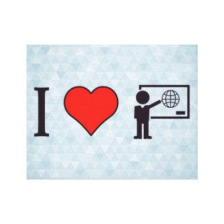 I Heart Geography Teacher Canvas Print