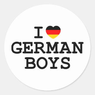 I Heart German Boys Classic Round Sticker