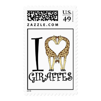 I Heart Giraffes Postage Stamps