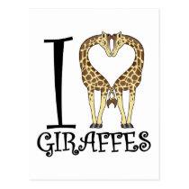I Heart Giraffes Postcard