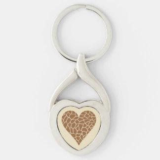I Heart Giraffes Silver-Colored Heart-Shaped Metal Keychain