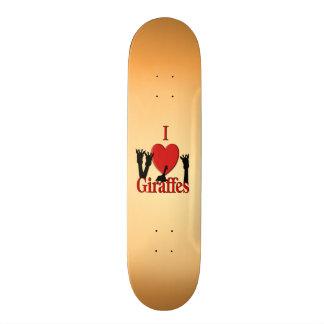 I Heart Giraffes Skateboard Deck