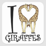 I Heart Giraffes Square Sticker