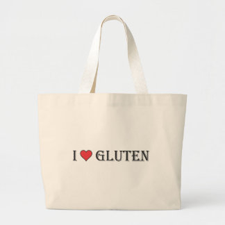 I Heart Gluten - Clear Background Large Tote Bag