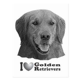 I Heart Golden Retrievers w/Stylized Image Postcard