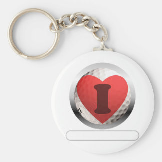 I HEART GOLF- add your words Basic Round Button Keychain