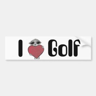 I Heart Golf Alien Bumper Sticker