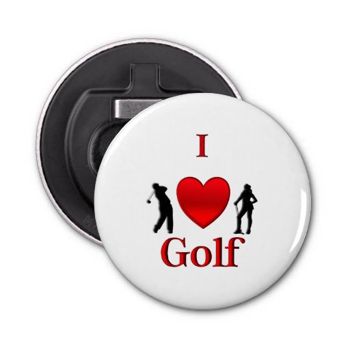 I Heart Golf Bottle Opener